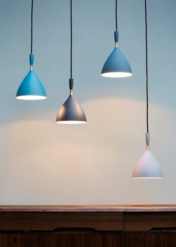 Dokka contemporary pendant lights by Northern Lighting in glue, grey and pale grey