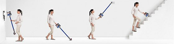 Four women using the Dyson V6 Fluffy Cordless Vacuum Cleaner for different cleaning jobs