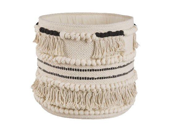 Maisons du Monde Ecru cotton decorative home storage basket with tassels and black trim