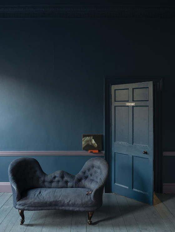 Farrow and Ball Stiffkey Blue on walls and door