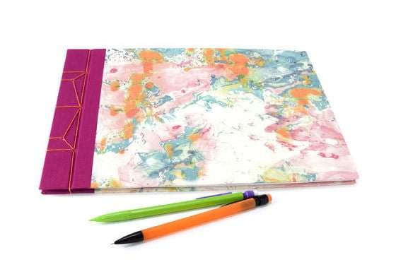 Japanese stab bound pink and orange marbled A4 hardback handmade journals