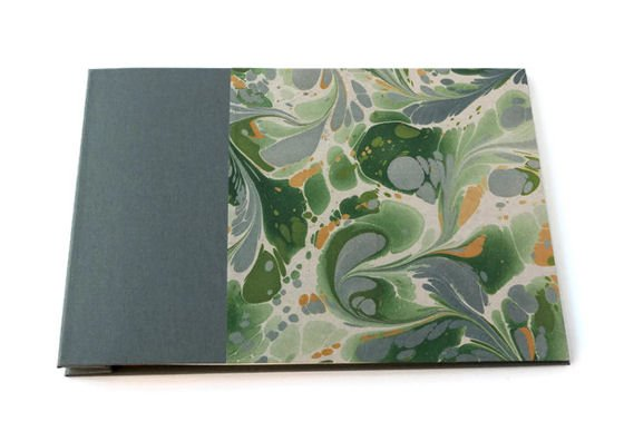 Post bound handmade album with grey bookcloth and printed marbled paper covers