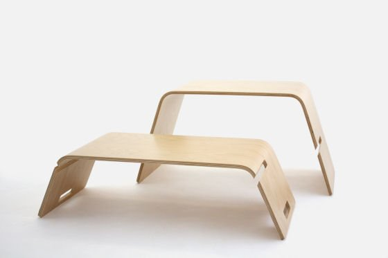 Embrace coffee table for small spaces in oak with sections pulled apart