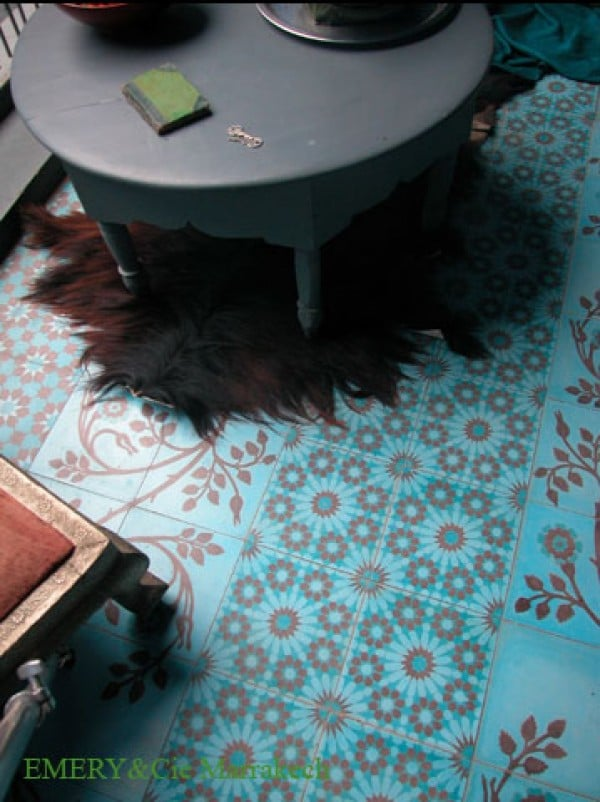 turquoise and red floor tiles by Emery & Cie