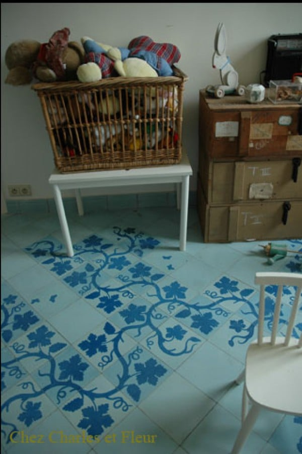 blue floral floor tiles by Emery & Cie