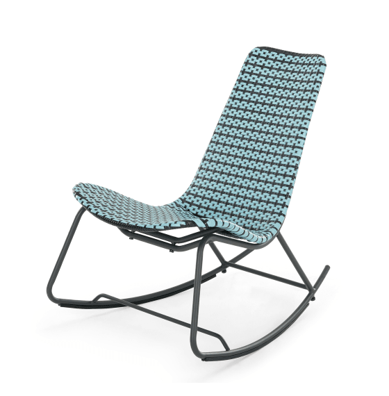 Pya outdoor rocking chair by MADE in blue and black with black metal frame