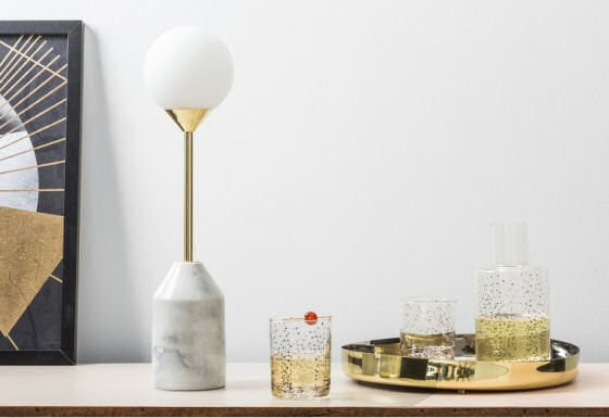 """Get the opulent """"modern luxury"""" look for less with the beautiful marble and brass Faye Table Lamp by MADE #contemporarylighting #tablelamps #marble #brasslamps"""