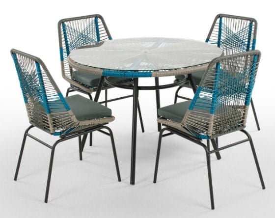 Copa Garden Dining Set, round table with four dining chairs in blue and grey