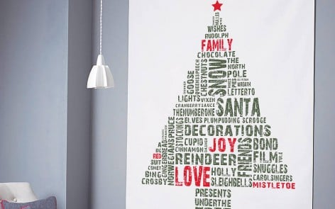 Contemporary Christmas Tree Graphic Wall Hanging in green and red
