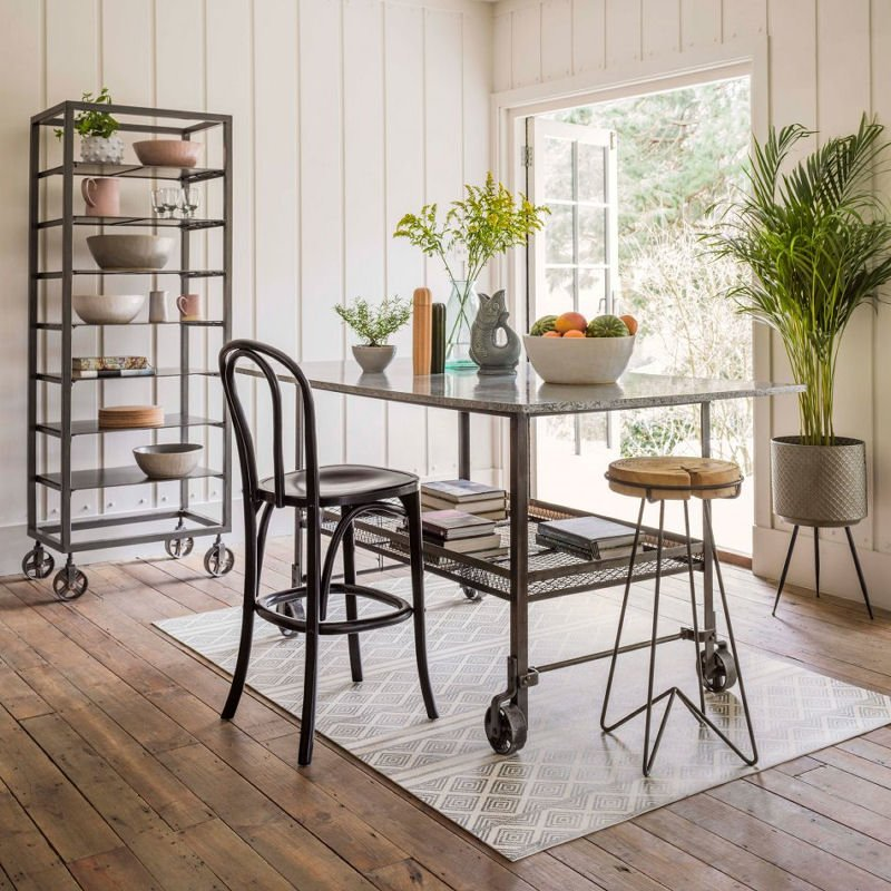 Industrial Iron Table Island by Graham and Green, movable kitchen island with wheels