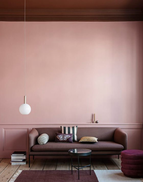 Collect Lighting contemporary pendant light in opal glass and brass in pink living room