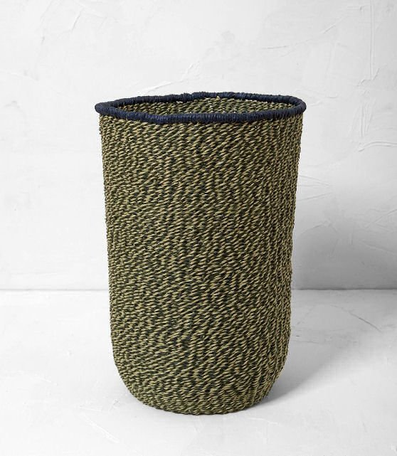 Ferm Living Braided Floor Basket medium size in green and blue