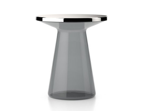 TEO Figure Side Table in grey glass with stainless steel top from LivingEtc/Clippings Edit