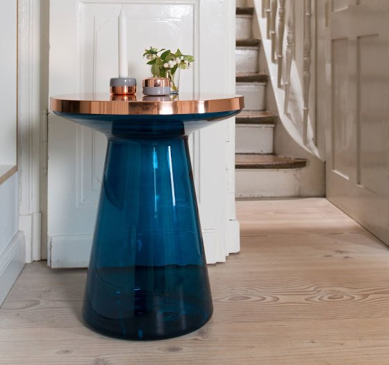 LivingEtc/Clippings Edit TEO Figure Side Table in blue glass and copper in hallway setting