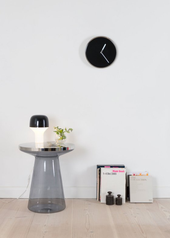 Figure Side Table in grey glass and stainless steel in contemporary monochrome room setting