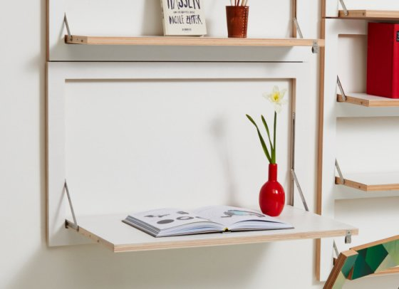 Flapps Wall Desk with book and red vase