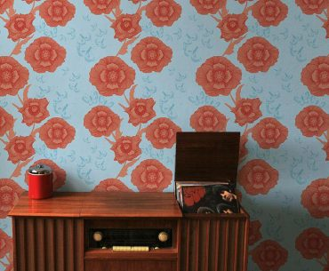 contemporary floral wallpaper in orange and blue