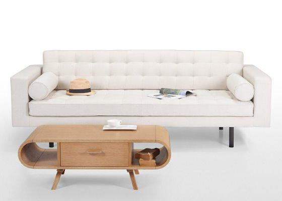 Fonteyn oak coffee table with cream sofa