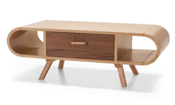 MADE Fonteyn oak coffee table with storage for small spaces