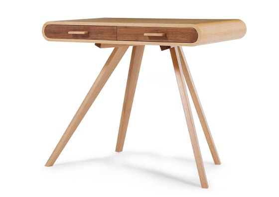 Modern desk with retro curved shape in oak from Made.com