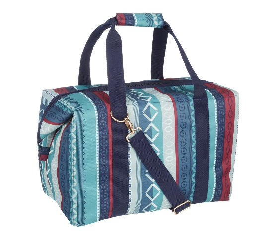 John Lewis cooler bag - Fusion design in blue patterned stripes with red