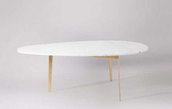 Gianni mid-century marble coffee table with white marble top and gold leafed legs