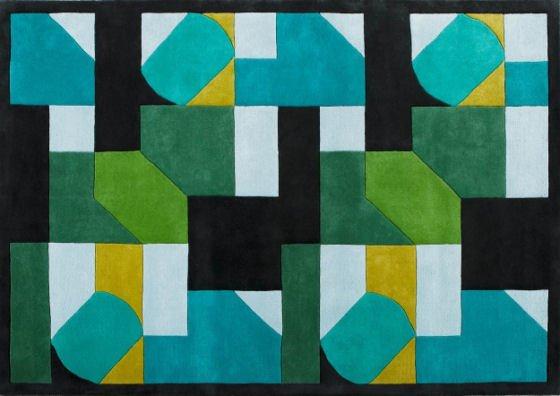 Nice Bold Geometric Merida Rug In Green And Blue By Made.com .
