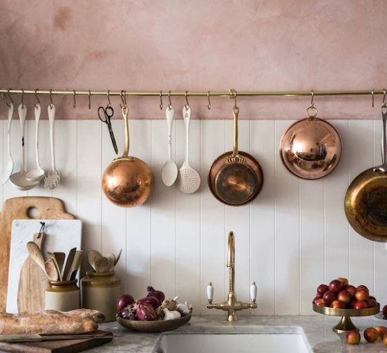 Blush pink plaster kitchen wall by jerseyicecreamco.com