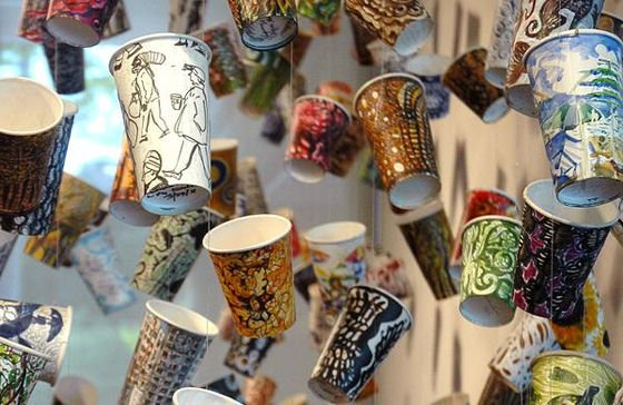 Painted paper coffee cups by Gwyneth Leech