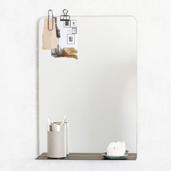 House Doctor minimal wall mirror with shelf in black