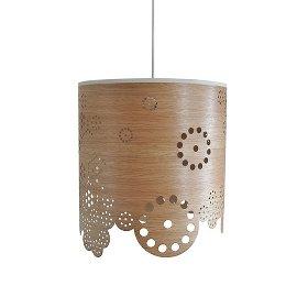 Kajo Flower Drum Pendant Lamp in cut out wood