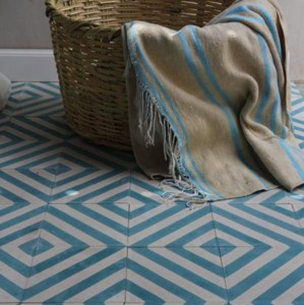 Blue and White Kelim design floor tiles
