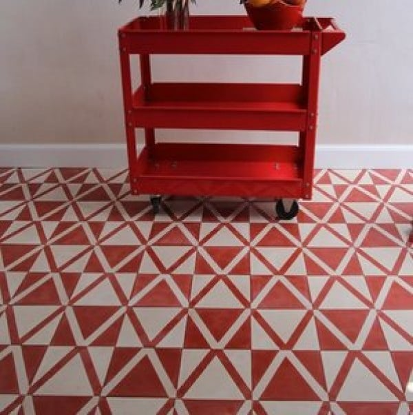 Coral and white Kelim design floor tiles