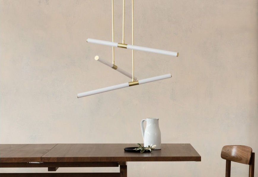 Habitat Hutton ceiling pendant light in white and brass