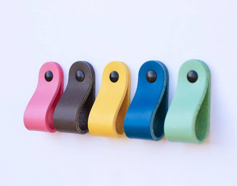 Colourful leather pull handles from the The Leather Handle Co Etsy shop