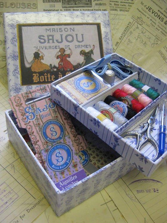 Sajou haberdashery sewing kit in presentation box