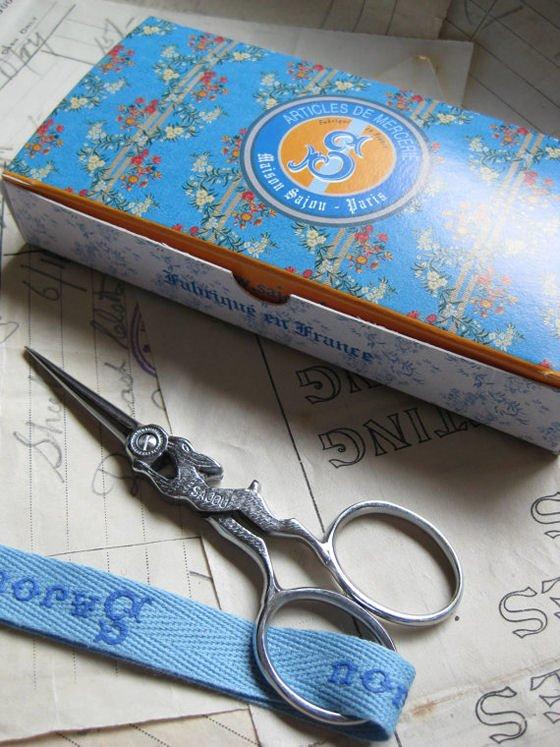 Embroidery scissors by Sajou in decorative presentation box