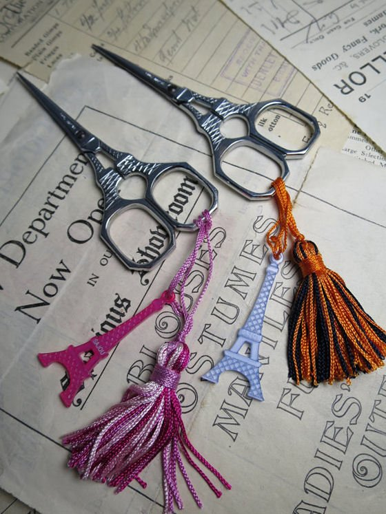 Sajou embroidery scissors in Eiffel Tower shape with decorative tasssels