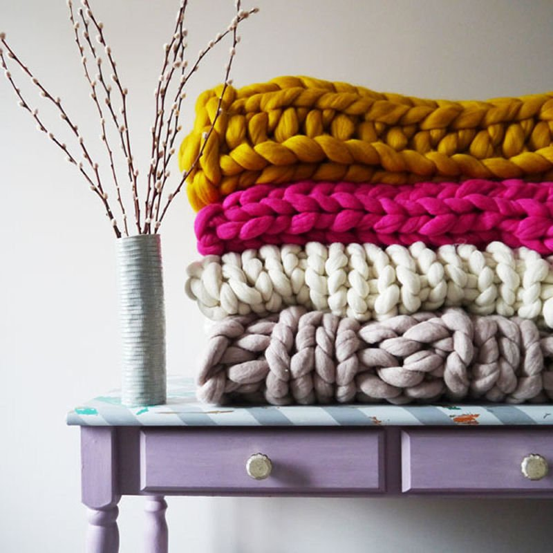 Colourful giant knit chunky blankets by Lauren Aston at Etsy