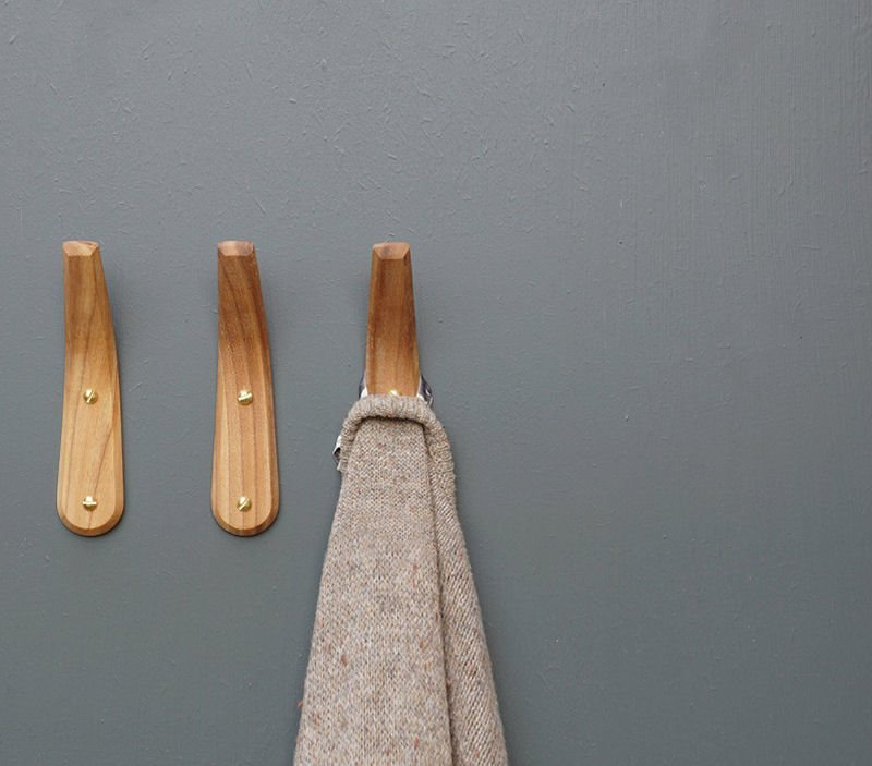Handcrafted contemporary wooden coat hooks from Etsy shop LayerTree