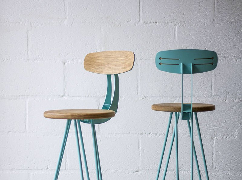 Etsy shop Cord Industries Hairpin Leg Barstools in wood and turquoise