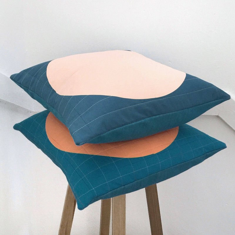 Contemporary quilted cushions from Etsy homewares shop Skinny Malinky Quilts