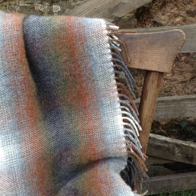 Handwoven pure wool blanket by Sally Hampson at Etsy