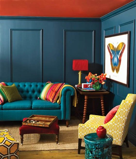 Farrow and Ball Hague Blue living room walls with orange ceiling