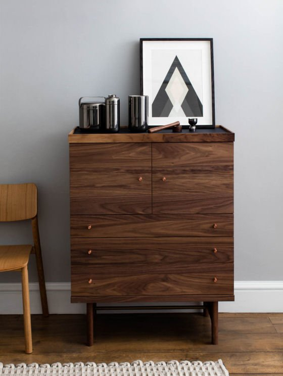 John Lewis Design Project Walnut Highboard with barware and monochrome print