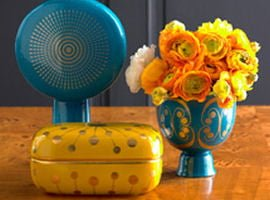 Colourful contemporary ceramics in yellow and turquoise by Jonathan Adler