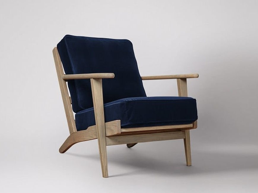Swoon Editions Karla armchair for small spaces in ink blue velvet