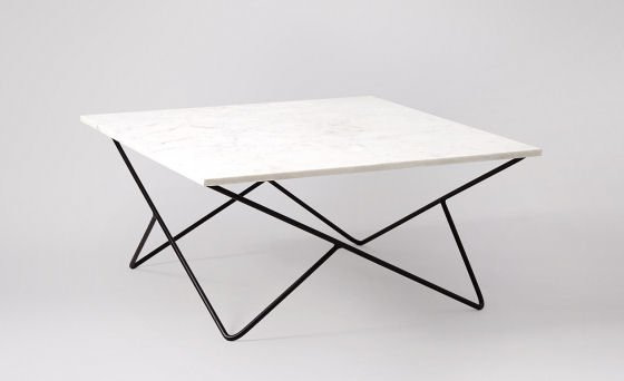 Katrina square marble coffee table with white top and geometric black metal legs