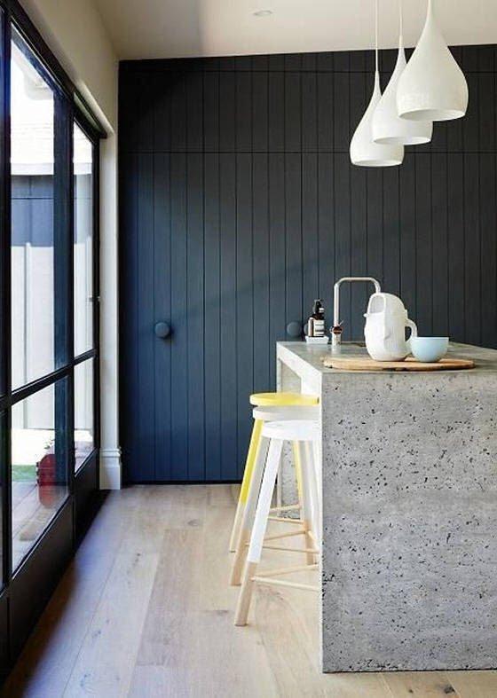 dark blue wall in contemporary kitchen