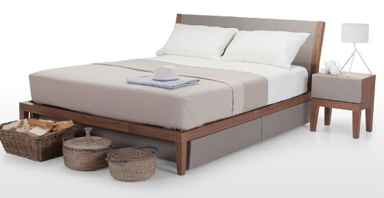 Amazing Grey Upholstered And Walnut Contemporary Storage Bed And Matching Furniture
